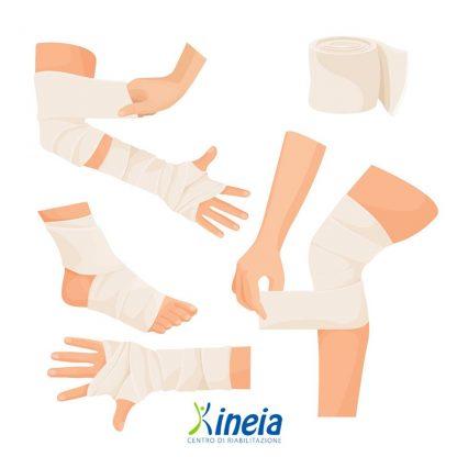 Il bendaggio funzionale consente di far guarire più velocemente un'articolazione bloccandone il movimento che provoca dolore. Per maggiori informazioni è possibile rivolgersi alla segreteria di Kineia.